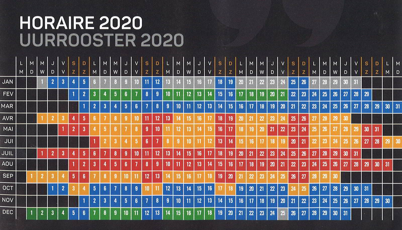 Horaire 2020 | Uurrooster 2020